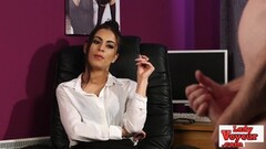 Stocking clad office babe watches her sub wank Thumb