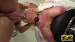 Naughty Bound and blindfolded submissive throated Thumb