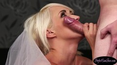Naughty Bigtits UK bride rewarded with big facial Thumb