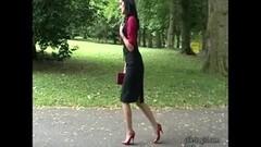 Stiletto Babe teases in shiny nylons high heels Thumb