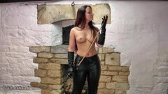Blonde rubbing big tits with leather wanks femdom and whip Thumb