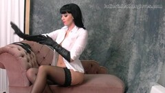 Spicy babe nylon stockings and leather gloves fetish Thumb