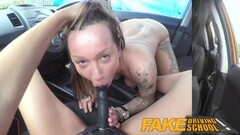 Fake Driving School Sexy strap on with big titted driver Thumb