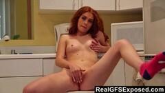 RealGfsExposed Beautiful redhead kitchen masturbation Thumb