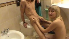 Hot gal sucks cock in the toilet Thumb