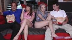 Iris Rose and Alison Rey riding on their dads cock Thumb