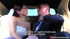 Trio with  Morgan Rodriguez hammered in her wedding dress in the limo Thumb