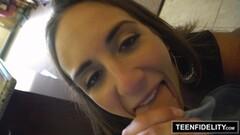 Teen babe Layla London slavers over this hard dick Thumb